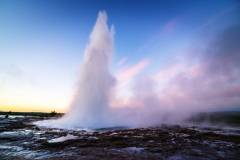 Strokkur geyser eruption. Golden circle Iceland. Famous natural and tourist attraction in valley Haukadalur